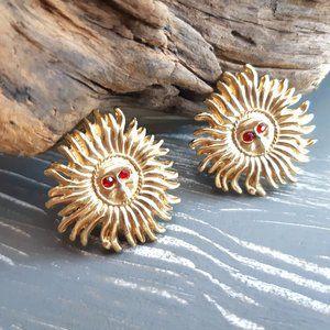 Golden Sun Earrings | Starburst Vintage